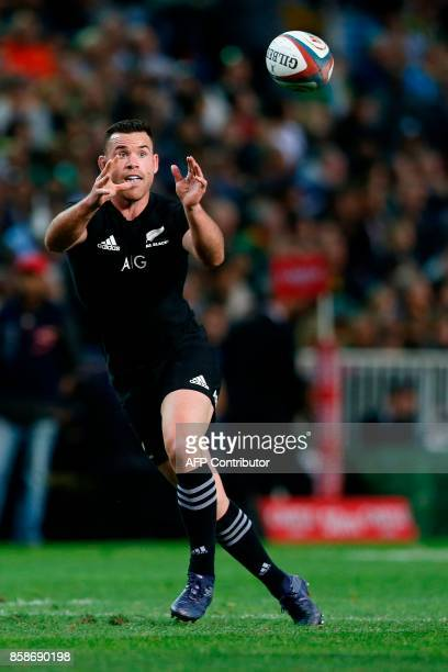 New Zealand Ryan Crotty catches the ball during the Rugby test match between South Africa and New Zealand at Newlands Rugby stadium on October 7 2017...