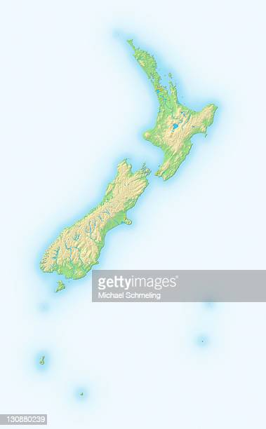 New Zealand, shaded relief map