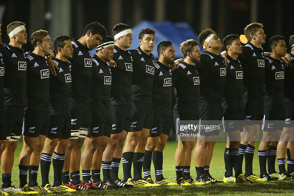 New Zealand sing the national anthem during the Under 20s Oceania Rugby match between Australia and New Zealand at Bond University on May 3, 2016 in Gold Coast, Australia.