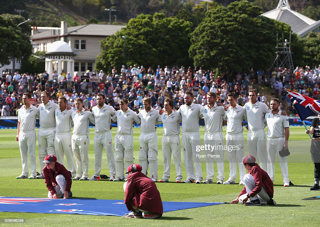 New Zealand sing their national anthem during day one of the Test match between New Zealand and Australia at Basin Reserve on February 12, 2016 in Wellington, New Zealand.