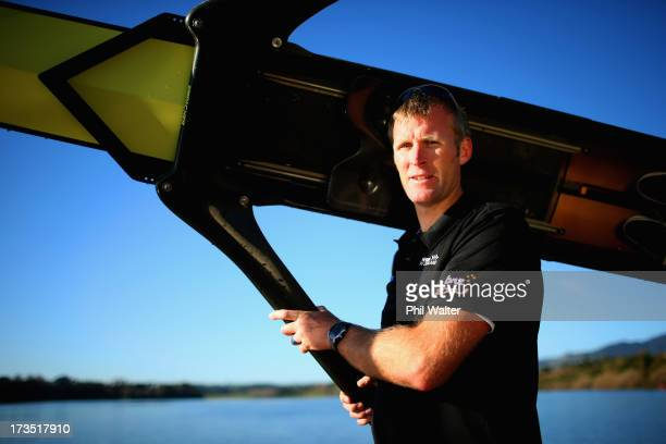 New Zealand single skull rower Mahe Drysdale poses during a portrait session at Lake Karapiro on July 16 2013 in Cambridge New Zealand