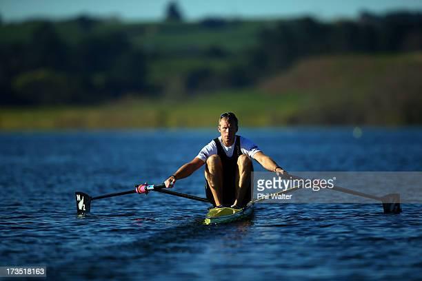 New Zealand single skull rower Mahe Drysdale trains on Lake Karapiro on July 16 2013 in Cambridge New Zealand