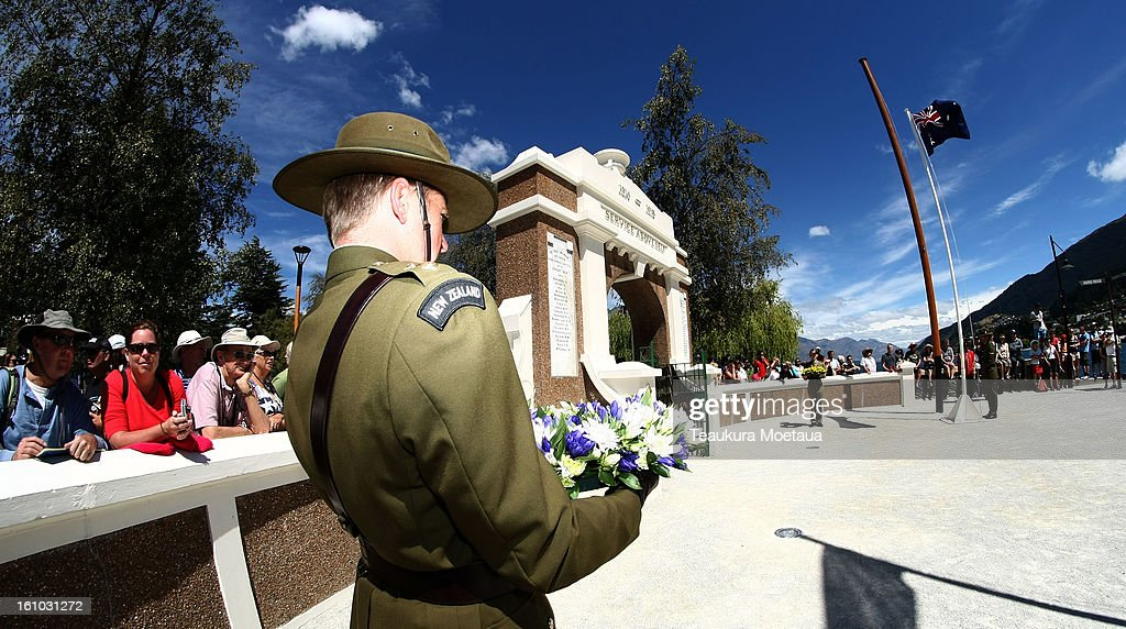 A New Zealand Soldier looks on during laying of the Wreaths at Queenstown War Memorial on February 9, 2013 in Queenstown, New Zealand. The annual talks are held over two days, with the economy and Asia-pacific defence matters as key items on the agenda.