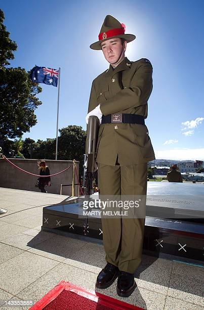 A New Zealand soldier stands guard at the Tomb of the Unknown Warrior during the National ANZAC Day Commemorative Service at the National War...
