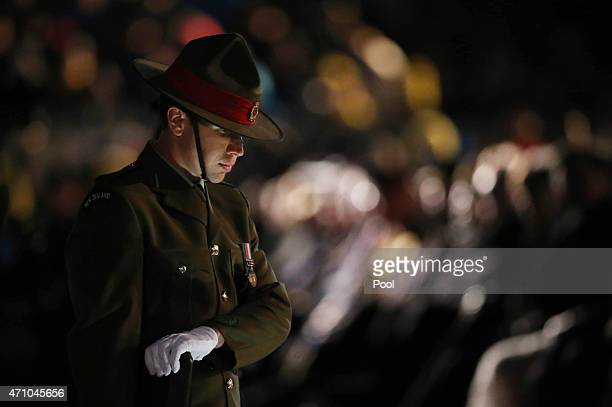 New Zealand soldier takes part in a Spirit of Place Ceremony marking the 100th anniversary of the Battle of Gallipoli at Anzac Cove on April 25 2015...