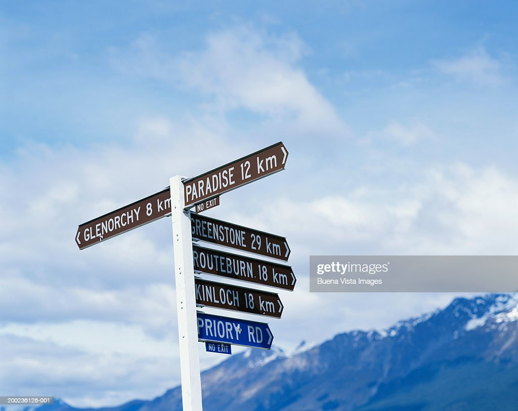 New Zealand, South Island, roadside sign post indicating distances