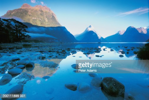 New Zealand, Southland Region, Mitre Peak reflected in Milford Sound : Stock Photo