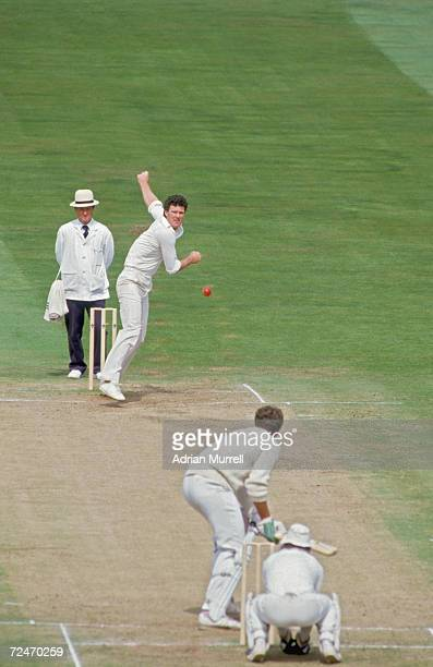 New Zealand spin bowler John Bracewell in action against England in the 2nd Test at Trent Bridge August 1986