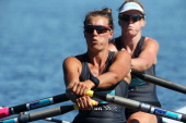New Zealand Summer Squad during the Women's premier coxless pairs final of the North Island Club Championships at Lake Karapiro on February 9 2014 in...