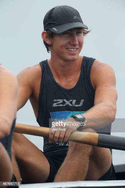 New Zealand Summer Squad men's premier coxless pairs during the North Island Club Championships at Lake Karapiro on February 8 2014 in Cambridge New...
