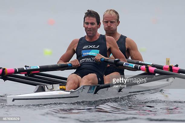 New Zealand Summer Squad men's premier double sculls during the North Island Club Championships at Lake Karapiro on February 8 2014 in Cambridge New...