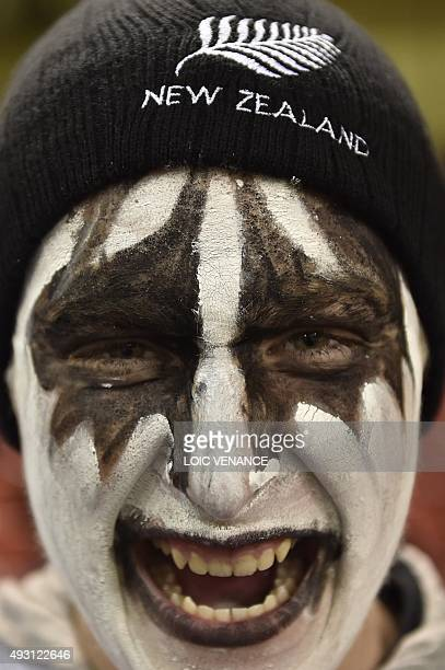 A New Zealand supporter poses prior to a quarter final match of the 2015 Rugby World Cup between New Zealand and France at the Millennium Stadium in...