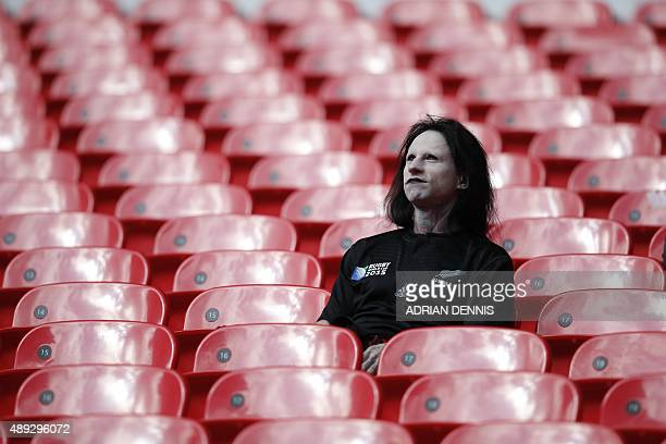 A New Zealand supporter sits in the tribunes prior to a Pool C match of the 2015 Rugby World Cup between New Zealand and Argentina at Wembley stadium...