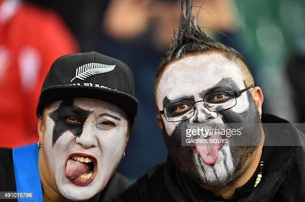 New Zealand supporters pose prior to a Pool C match of the 2015 Rugby World Cup between New Zealand and Georgia at the Millennium stadium in Cardiff...