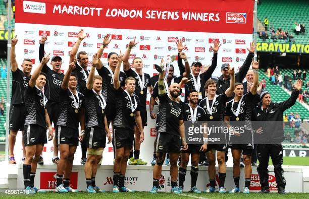 New Zealand team celebrate after winning the London Marriott Sevens at Twickenham Stadium on May 11 2014 in London England