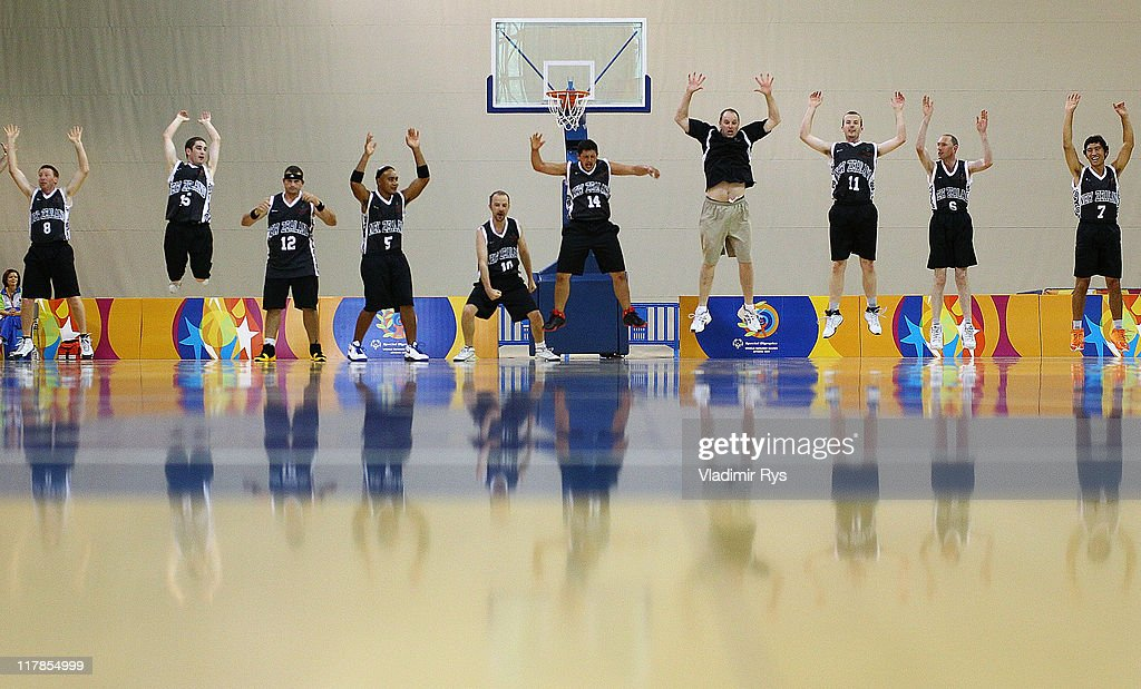 New Zealand team performs Haka before the basketball game between Singapore and New Zealand at the Athens 2011 Special Olympics World Summer Games on July 1, 2011 in Athens, Greece.