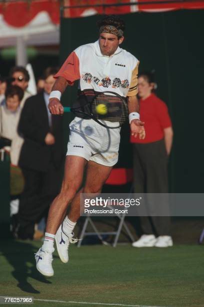 New Zealand tennis player Brett Steven pictured in action during competition to reach the third round of the 1994 Stella Artois Championships singles...