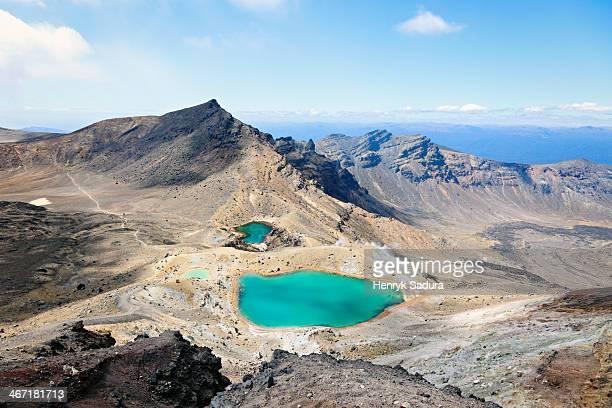 New Zealand, Tongariro National Park, Volcanic landscape with lake