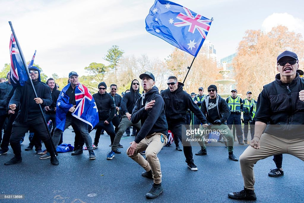 A New Zealand True Blue Crew group perform the Haka in solidarity during a protest organized by the anti-Islam True Blue Crew supported by the United Patriots Front in Melbourne, Australia on June 26, 2016.