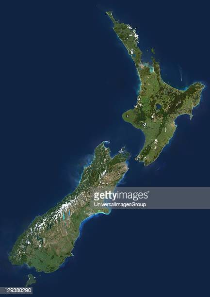 New Zealand true colour satellite image This image was compiled from data acquired by LANDSAT 5 7 satellites New Zealand True Colour Satellite Image
