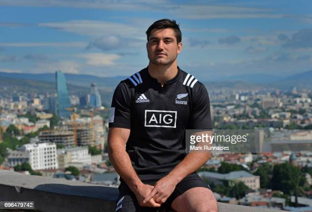 New Zealand U20 Rugby Captain Zach Mercer poses during the World Rugby U20 Championship Final Captain's Photocall at the Narikala Fortress on June 16...