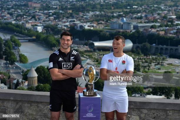 New Zealand U20 Rugby Captain Zach Mercer poses with England U20 Rugby Captain Luke Jacobson during the World Rugby U20 Championship Final Captain's...