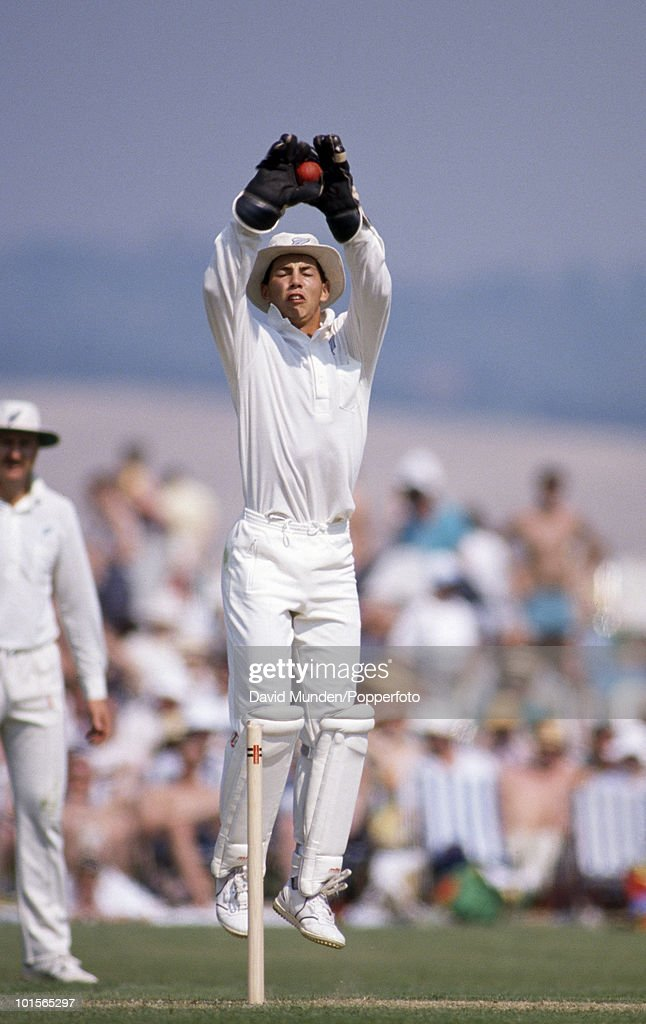 New Zealand wicketkeeper Adam Parore during the match between Lavinia Duchess of Norfolk's XI and New Zealand at Arundel, 6th May 1990. New Zealand won by 7 wickets.