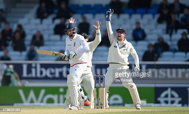 New Zealand wicketkeeper Luke Ronchi appeals with success for the last wicket of Jos Buttler during day five of the 2nd Investec test match between...