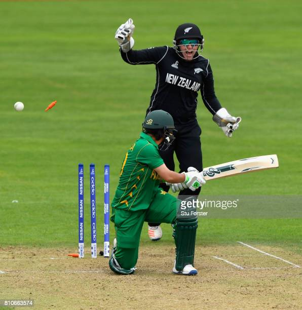New Zealand wicketkeeper Rachel Priest celebrates as Pakistan batsman Nahida Khan is bowled by Amelia Kerr during the ICC Women's World Cup 2017...