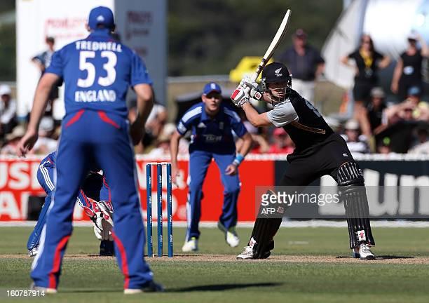 New Zealand XI's Matt Henry hits the winning runs on the last ball during the warm up Twenty20 cricket match between the New Zealand XI and England...