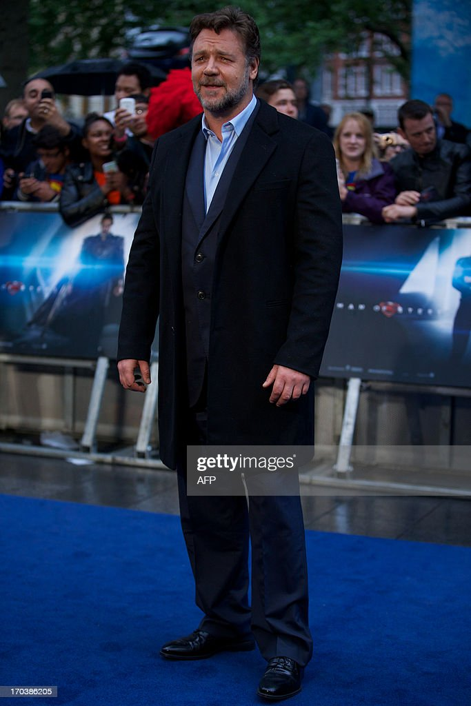 New Zealand-born Australian actor Russell Crowe poses on the red carpet for the European premiere of the film Man of Steel in London on June 12, 2013.