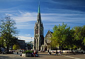 New Zealand,Christchurch,Cathedral Square,people in fore of cathedral