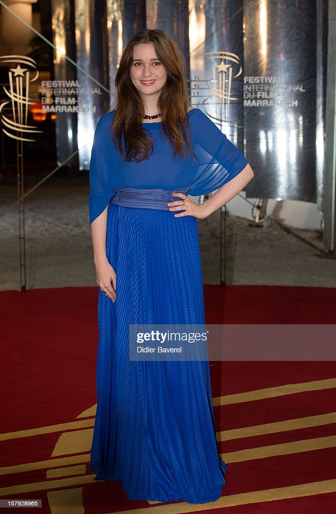 New Zealander actress <a gi-track='captionPersonalityLinkClicked' href=/galleries/search?phrase=Alice+Englert&family=editorial&specificpeople=616562 ng-click='$event.stopPropagation()'>Alice Englert</a>, Jane Campion's daughter, poses as she arrives at the 12th International Marrakech Film Festival on December 7, 2012 in Marrakech, Morocco.