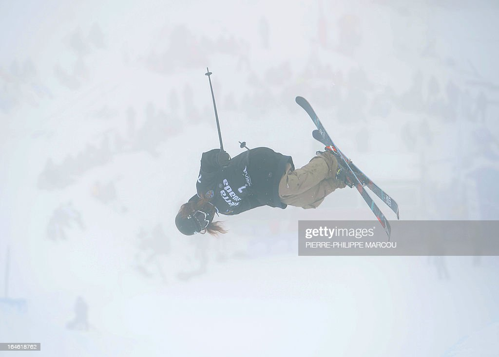 New Zealander skier Beau James Wells competes during the Men's ski Halfpipe race at the World Cup Super finals Snowboard and FreeStyle at Sierra Nevada ski resort near Granada on March 25, 2013.