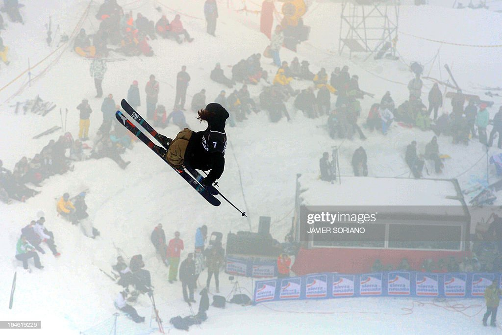 New Zealander skier Beau James Wells competes in the Men's Half Pipe race at the Snowboard and FreeStyle World Cup Super finals at Sierra Nevada ski resort near Granada on March 25, 2013.