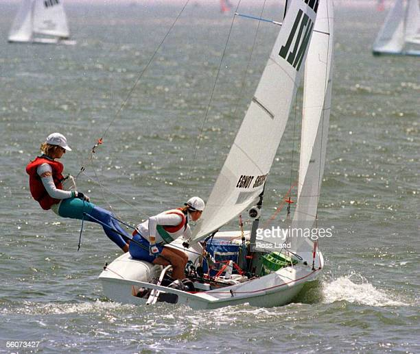 New Zealand's 470 sailors Leslie Egnot and Jan Shearer head out to Wassaw Sound Savanah site of the Olympic yachting venue