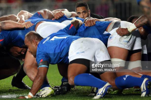 New Zealand's Aaron Smith looks over the scrum during the international rugby test match between New Zealand and Samoa at Eden Park in Auckland on...