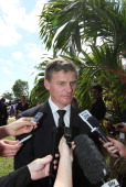 New Zealand's acting Prime Minister Bill English speaks to media after the State Funeral held for King George Tupou V at Mala'ekula on March 27 2012...