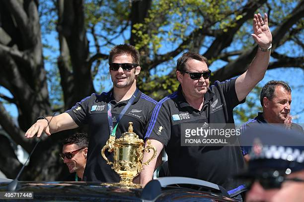 New Zealand's All Blacks rugby team captain Richie McCaw and coach Steve Hansen attend an official welcome parade and reception for the team in...