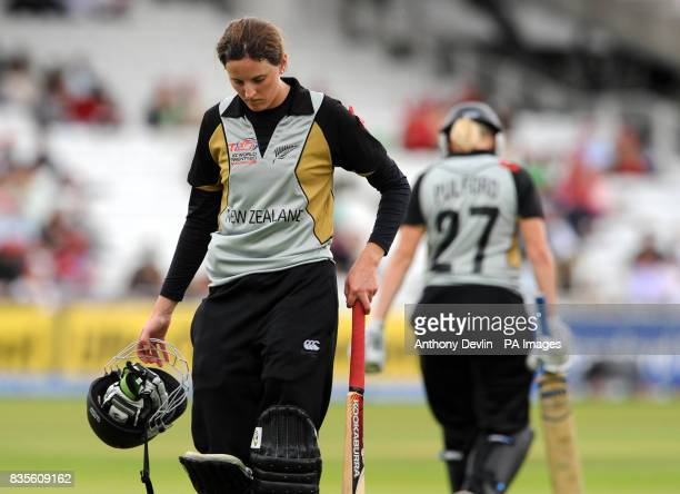 New Zealand's Amy Satterthwaite leaves the field dejected after losing her wicket during the Final of the Women's ICC World Twenty20 at Lords London