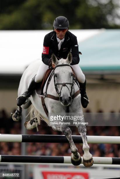 New Zealand's Andrew Nicholson rides Avebury in the show jumping during the Burghley Horse Trials at Burghley Park Stamford
