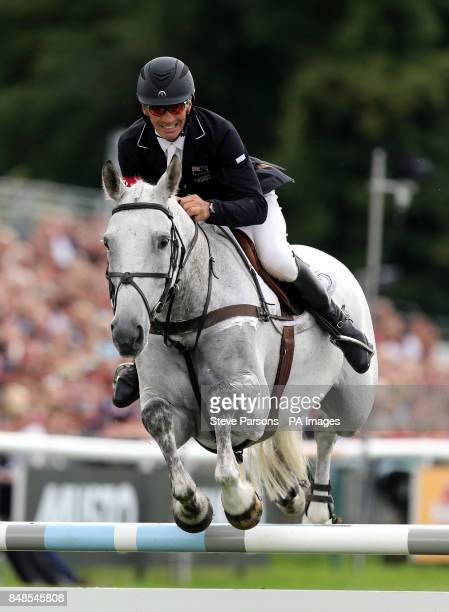 New Zealand's Andrew Nicholson rides Avebury on the show jumping day during the Burghley Horse Trials at Burghley Park Stamford
