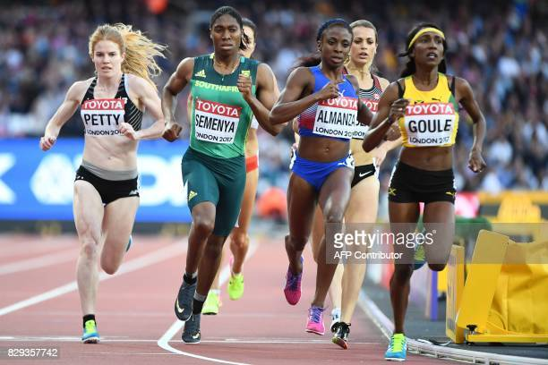 New Zealand's Angela Petty South Africa's Caster Semenya Cuba's Rose Mary Almanza and Jamaica's Natoya Goule compete in the women's 800m athletics...
