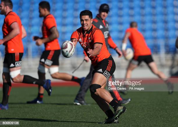 New Zealand's Anton LienertBrown during a training session at The Trust Arena Henderson