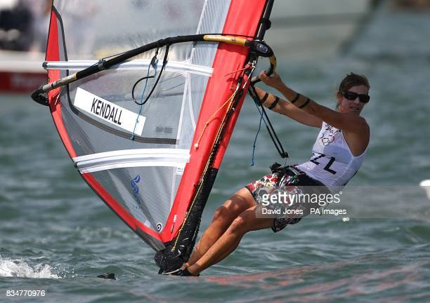 New Zealand's Barbara Kendall sails in the final round of the Women's RSX Sailing Competition at the Olympic Games' Sailing Centre in Qingdao on day...
