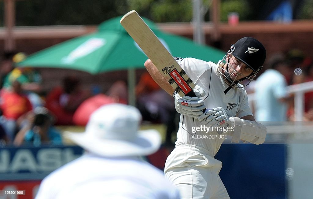 New Zealand's batsman Kane Williamson keeps his eye on the ball during New zealand's second innings on day two of the first Test match between South Africa and New Zealand at Newlands on January 3, 2013 in Cape Town.