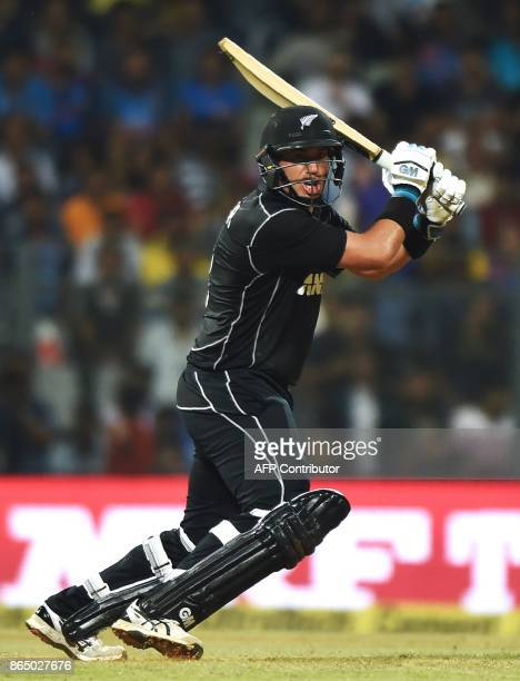 New Zealand's batsman Ross Taylor plays a shot during the first oneday international cricket match between India and New Zealand at the Wankhede...