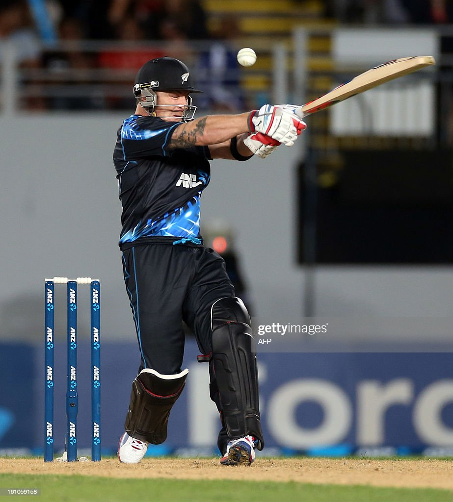 New Zealand's Brendon McCullum bats during the International Twenty20 cricket match between New Zealand and England played at Eden Park in Auckland on Febuary 9, 2013. AFP PHOTO / Michael BRADLEY