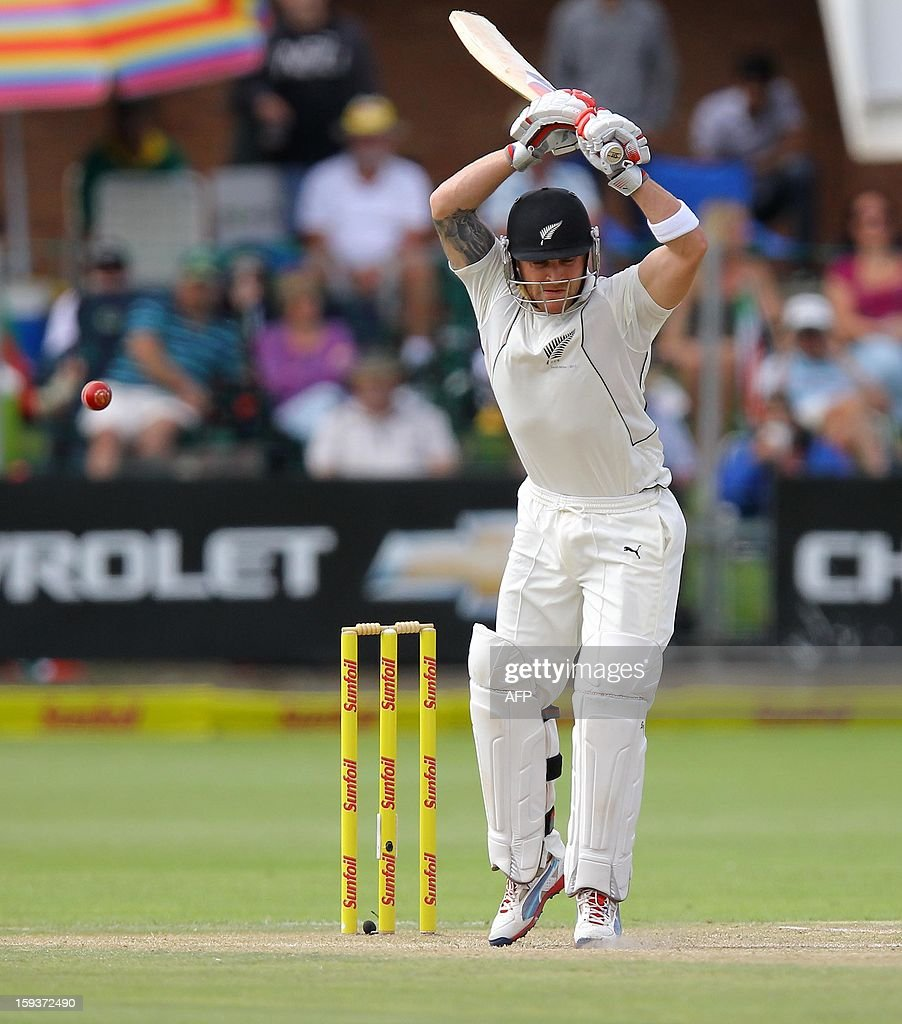 New Zealand's Brendon McCullum bats on the second day of the second and final Test between South Africa and New Zealand at St George's Park on January 12, 2013 in Port Elizabeth. AFP PHOTO / Anesh Debiky