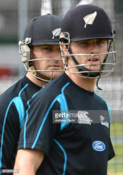 New Zealand's captain Brendon McCullum and Kane Williamson lookon during a nets session at Lords Cricket Ground London PRESS ASSOCATION Photo Picture...